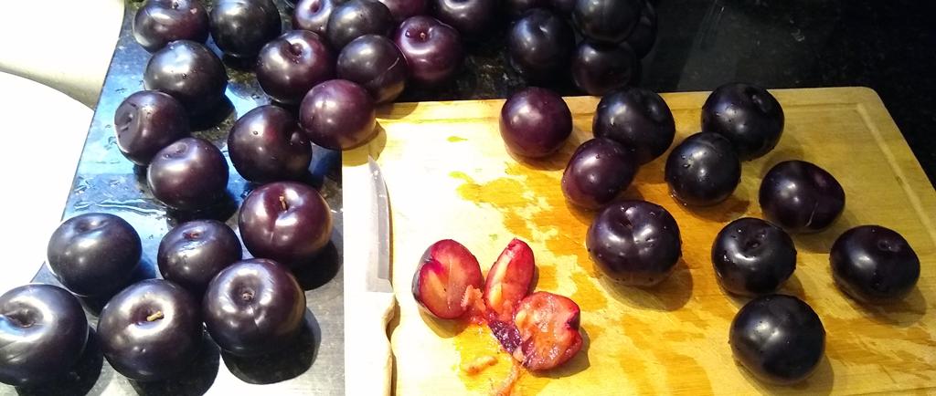 Cut plums